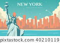 Statue of Liberty. New York landmark and symbol of Freedom and Democracy. Vector 40210119