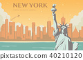 Statue of Liberty. New York landmark and symbol of Freedom and Democracy. Vector 40210120