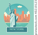 Statue of Liberty. New York landmark and symbol of Freedom and Democracy. Vector 40210123