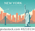 Statue of Liberty. New York landmark and symbol of Freedom and Democracy. Vector 40210134