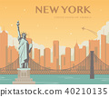 Statue of Liberty. New York landmark and symbol of Freedom and Democracy. Vector 40210135