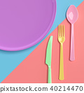 Fork with spoon with knife and plate pastel color 40214470