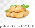 Realisic vector potatoes grope on transparent background. Potato with leaf and flowers. 40214731