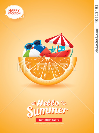 Hello summer banner with orange background.  40215493