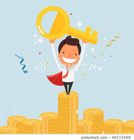 Business cartoon character success. 40215568