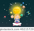 Girl reading a book about universe 40215720