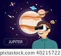 Man wearing virtual reality glasses look jupiter 40215722