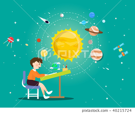 Boy reading a book about universe 40215724