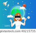 Women wearing VR  glasses looking the earth 40215735