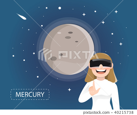 Women wearing VR glasses looking mercury 40215738