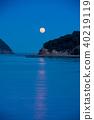 与海torii和满月的夜视图 40219119