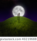Chair on night hill lit by moon 40219688