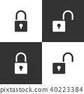Lock and unlock icon set on black and white  40223384