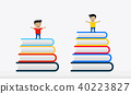 Kids On Stack Of Colorful Books Vector flat design 40223827