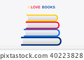 Stack Of Colorful Books Vector flat design 40223828