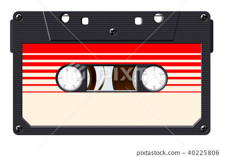 Cassette with retro label as vintage object for 80s revival mix tape design 40225806