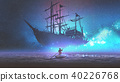 boy on a boat looking the sailing ship 40226768