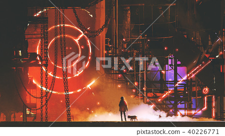 man looking at the futuristic factory 40226771
