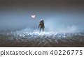 astronaut standing among flock of bird 40226775