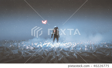 astronaut standing among flock of bird 40226775