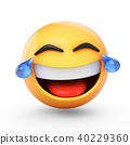 3D Rendering laughing emoji with tears isolated 40229360