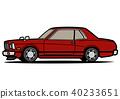 復古國內轎跑車紅色汽車插圖 40233651