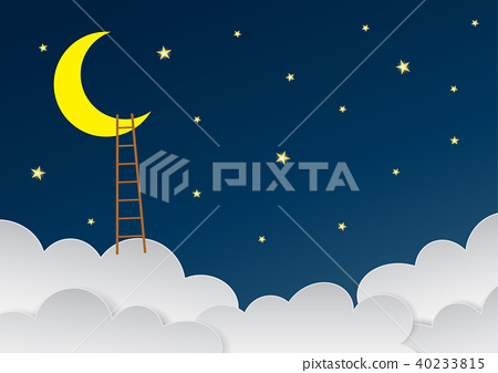 Beautiful sky with crescent moon and ladders.  40233815