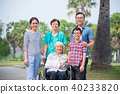 Senior patient sitting on wheelchair with family 40233820