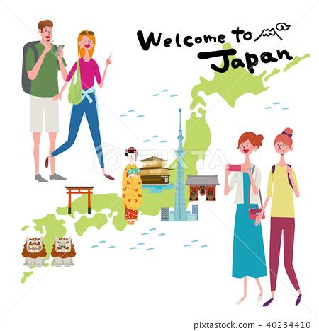 入境插圖旅遊日本地圖 40234410