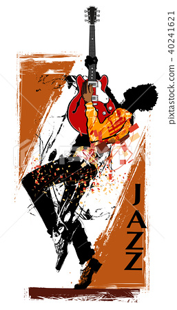 Guitar player with red electric guitar 40241621