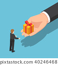 Isometric hand giving gift box to businessman 40246468