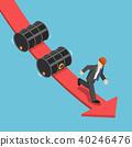 Businessman running away from falling oil barrels 40246476