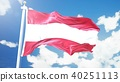 Realistic flag of Austria waving against time-lapse clouds background.. 3D rendering 40251113