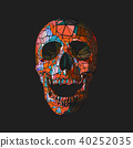 Colorful polygonal skull illustration on black BG 40252035