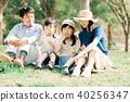 가족 피크닉 비눗 방울에서 노는 아이들 40256347