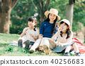 使用與肥皂泡的孩子和母親在公園 40256683