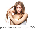 beautiful girl getting haircut 40262553