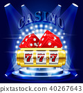 Big win or jackpot - 777 on slot machine, casino 40267643