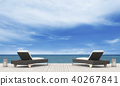 3D rendering of the beach lounge - sundeck on sea  40267841