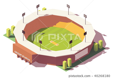 Vector isometric low poly cricket stadium 40268180