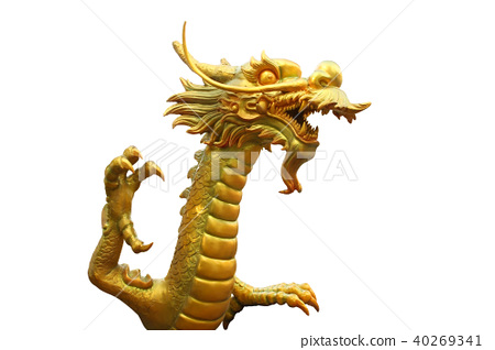 Head of golden dragon fight from public area. 40269341