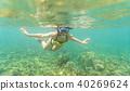 woman, snorkel, snorkelling 40269624
