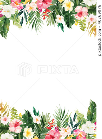 White blank paper background with plants border 40269976