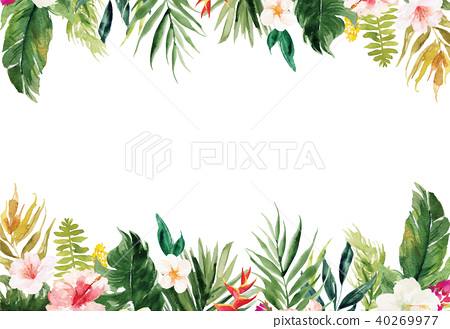 White blank paper background with flowers border 40269977