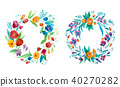 Aquarelle drawing of bright rustic coronet of garden flowers hand-drawn 40270282