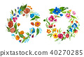 Aquarelle floral composition for card design or decoration element. Isolated hand drawn watercolor 40270285