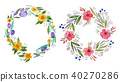 Isolated hand painted watercolor floral coronet made of delicate flowers and foliage 40270286
