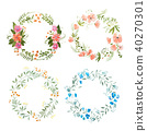 Aquarelle painting of floral wreath made of wild flowers isolated on white background 40270301