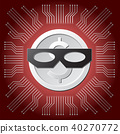 coin with thief mask on red  circuit background 40270772