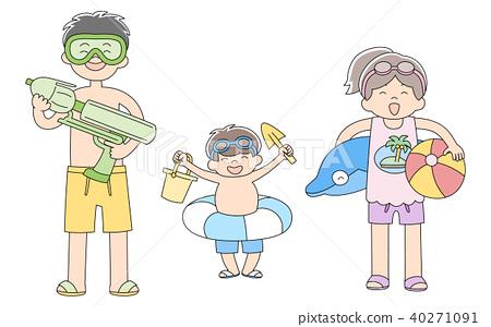 เด็ก 3 คนอาบน้ำทะเล 40271091